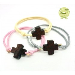 PULSERA CRUZ DARK WOOD